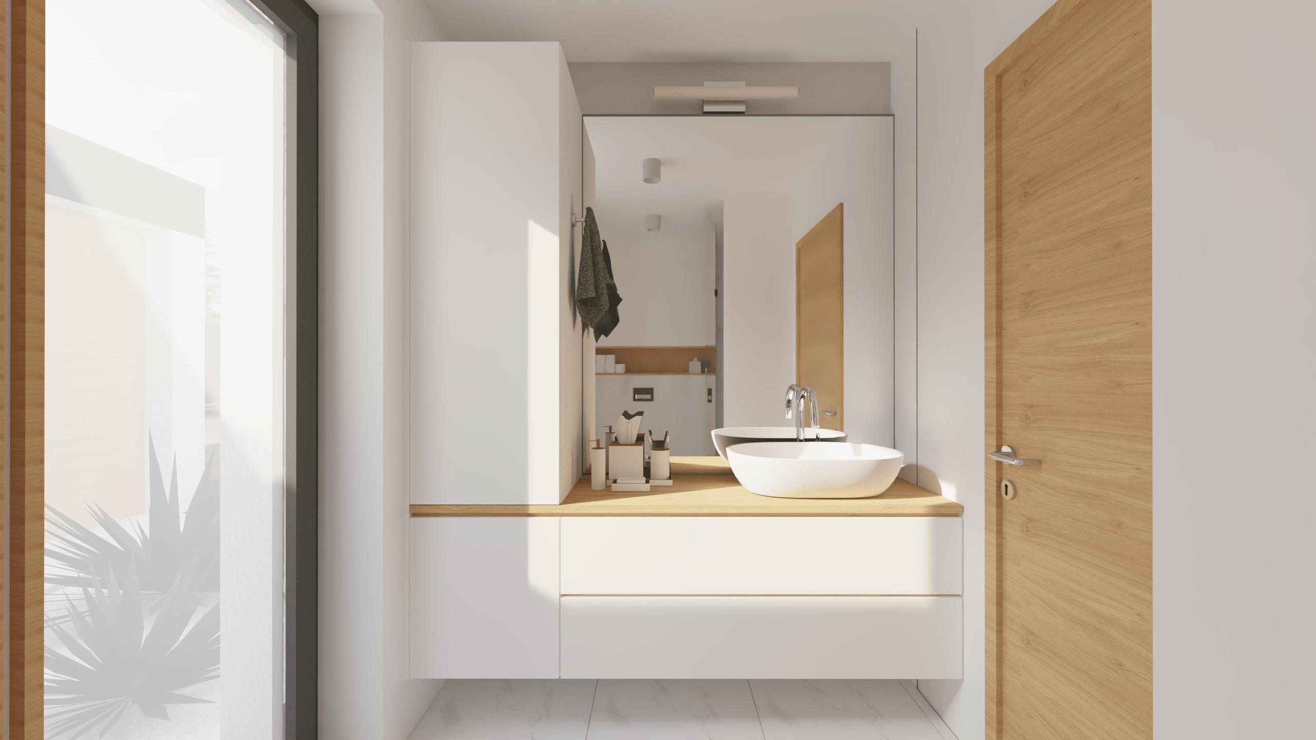 Kopalnica, pogled na umivalnik